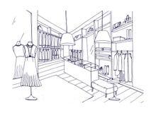 El dibujo de esquema del interior de la tienda de la ropa de moda con el mobiliario, escaparates, maniquíes se vistió en ropa ele Fotos de archivo