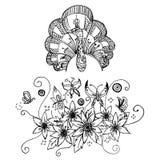 El dibujo de la carta blanca de la flor y del pavo real del ramo bosqueja vector Foto de archivo