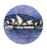 El dibujo de la mano de la acuarela de Sydney, el buillding arhitectural del famouse aislado libre illustration