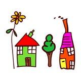 El dibujo de los niños con las casas, el árbol y la flor stock de ilustración
