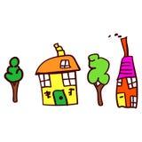 El dibujo de los niños con las casas y los árboles ilustración del vector