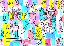 El dibujo de los niños de un fondo de los dulces Imagen de archivo libre de regalías