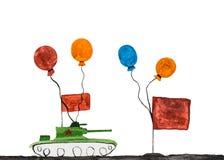 El dibujo de los niños del tanque militar Fotos de archivo libres de regalías
