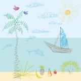 El dibujo de un niño en vector Sun, mar, playa, navegando lejos, vaca ilustración del vector