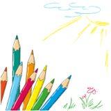 El dibujo del niño con garabato coloreado de los lápices Foto de archivo