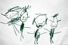 El dibujo del niño de su familia con un rotulador imagen de archivo