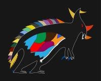 El dibujo del niño de un dinosaurio Fotografía de archivo