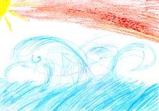 El dibujo del ` s del niño de un sol del mar se nubla salida del sol de la puesta del sol Imagenes de archivo