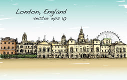 El dibujo del scape de la ciudad en Londres, Inglaterra, muestra el castillo viejo stock de ilustración