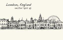 El dibujo del scape de la ciudad en Londres, Inglaterra, muestra el castillo viejo libre illustration