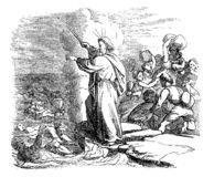 El dibujo del vintage de la historia bíblica de cruzar el Mar Rojo, Moses Leading Israelites Safely Through, ejército egipcio es ilustración del vector