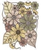 El dibujo florece diseño retro Imagen de archivo