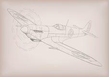 El dibujo gráfico de la primera construcción plana del spyfire en li negro libre illustration