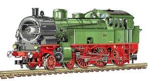El dibujo locomotor locomotor autónomo cerca la caldera de vapor con barandilla del vehículo de los durmientes Fotografía de archivo