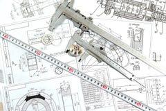 El dibujo, los detalles y el calibrador Imagen de archivo