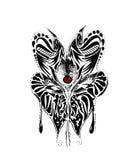 El dibujo ornamental de la mariposa y la mariquita con el lápiz bosquejan líneas negras Imagenes de archivo