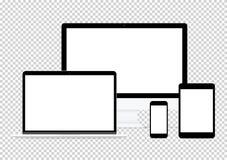 el dibujo plano electrónico del vector del diseño del ordenador fijó en fondo transparente libre illustration
