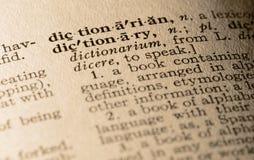 El diccionario de palabra Imagen de archivo