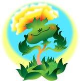 El diente de león de Odik crece en el prado, día de verano, el sol está brillando, cielo claro, alegría, calor, positivo stock de ilustración