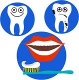 El diente feliz y triste y los labios rojos articulan Fotos de archivo