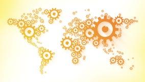 El diente rueda el mapa abstracto del animationworld del lazo integrado por la animación anaranjada del lazo del negocio de los e stock de ilustración