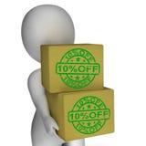 El diez por ciento de precios bajos de la demostración 10 de las cajas Fotografía de archivo libre de regalías