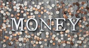 El dinero acuña el fondo Imagen de archivo libre de regalías