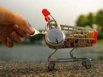El dinero acuña en carro de la compra con la cerradura, ahorrando concepto del dinero Imagenes de archivo
