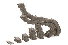 El dinero apila el gráfico cientos dólares aislados en el backgro blanco libre illustration