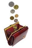El dinero cae en monedero. Imagen de archivo libre de regalías