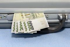 El dinero checo rasguñó en una maleta gris del metal Foto de archivo libre de regalías