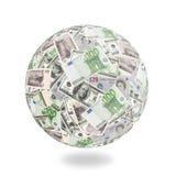 El dinero circunda el globo Imagen de archivo libre de regalías