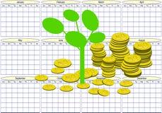 El dinero crece en un calendario - torres del dinero stock de ilustración