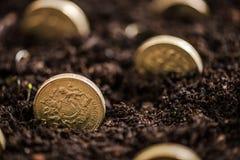 el dinero crece mientras que usted concepto del sueño imagen de archivo