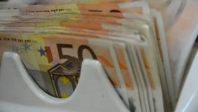 El dinero cuenta las 50 notas euro cerca para arriba metrajes