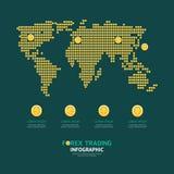 El dinero de la moneda del negocio de Infographic acuña forma del mapa del mundo de las divisas Imagen de archivo