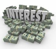 El dinero de las ganancias de la renta financiera del interés apila tarifas de la deuda del crédito Imágenes de archivo libres de regalías