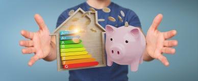 El dinero del ahorro del hombre de negocios con la buena carta de la energía que valora 3D rinde stock de ilustración