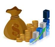 El dinero empaqueta monedas y la muestra del gráfico Imágenes de archivo libres de regalías