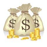 El dinero empaqueta por completo de monedas del dólar Foto de archivo libre de regalías