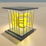 El dinero en circulación firma adentro una jaula Fotos de archivo libres de regalías
