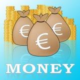 El dinero euro significa el ejemplo europeo de la moneda 3d libre illustration