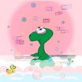 El dinosaurio lindo toma un baño Foto de archivo libre de regalías