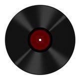 El disco de vinilo de disco de larga duración aisló - la escritura de la etiqueta en blanco roja Fotografía de archivo libre de regalías
