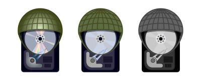 El disco duro del ordenador se protege debajo de cascos militares Imagen de archivo