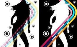 El disco raya a la muchacha ilustración del vector