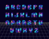 El disco retro diseñó alfabeto Ilustración del Vector