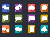 El discurso burbujea los iconos planos de la sombra larga Imagen de archivo