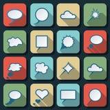 El discurso burbujea los iconos planos del vector Imagenes de archivo