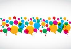 El discurso colorido burbujea concepto social de los media Fotografía de archivo